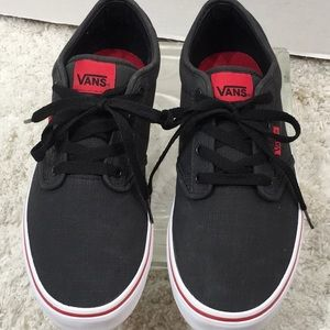 Vans gray and red low top sneakers